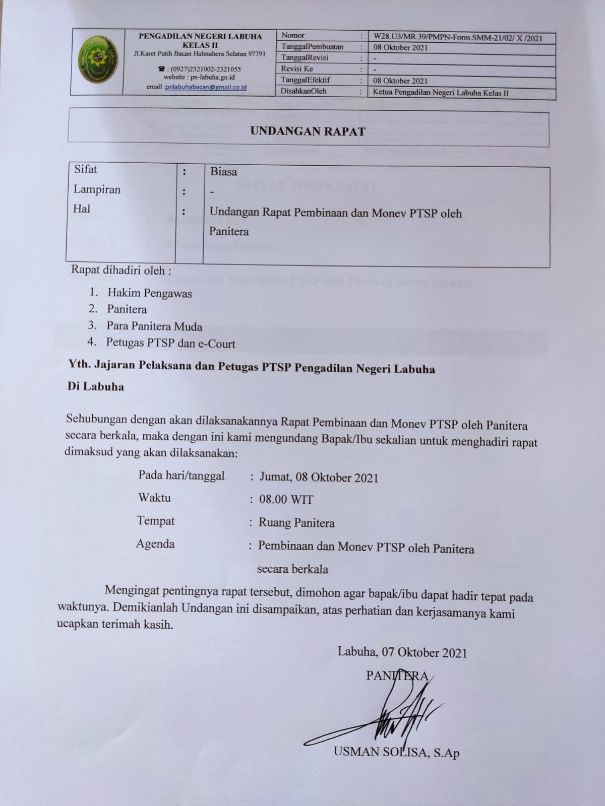 Undangan Rapat Pembinaan dan Monev PTSP oleh Panitera Bulan Oktober