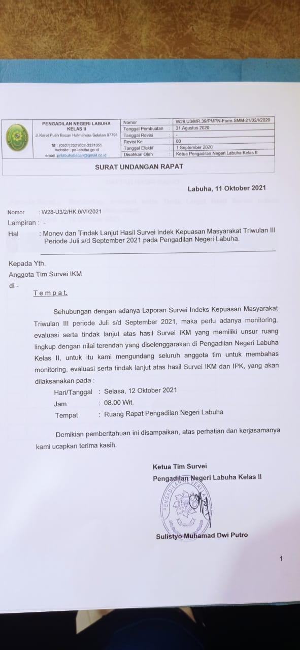 Monev dan tindaklanjut Hasil Survei Indeks Kepuasan Masyarakt Triwulan III Periode Juli s/d September 2021 Pada Pengadilan Negeri Labuha